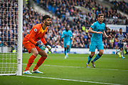 Paulo Gazzaniga (GK) (Tottenham) in action  during the Premier League match between Brighton and Hove Albion and Tottenham Hotspur at the American Express Community Stadium, Brighton and Hove, England on 5 October 2019.