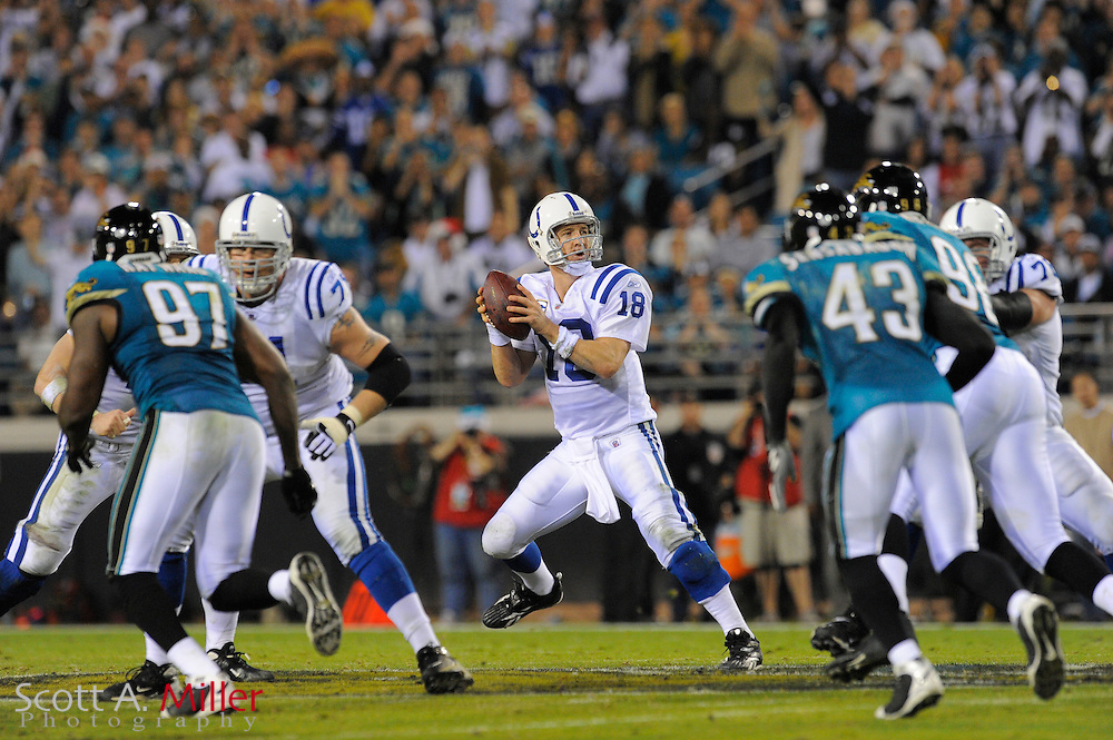 Jacksonville, FL, Dec. 18, 2008 ---  Indianapolis Colts quarterback Peyton Manning (18) during the Colts against the Jacksonville Jaguars at Jacksonville Municipal Stadium. ...©2008 Scott A. Miller