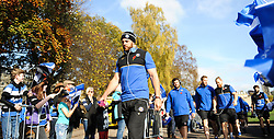 Bath's Dave Atwood leads the team through the fan tunnel.  - Mandatory byline: Alex Davidson/JMP - 07966386802 - 31/10/2015 - RUGBY - Recreation Ground -Bath,England - Bath Rugby v Harlequins - Aviva Premiership