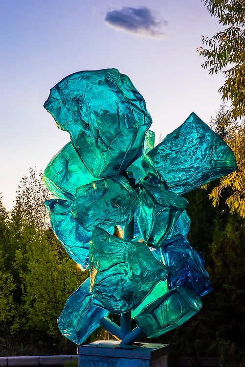 Polyvitro Crystal Tower & Blue Crystals, Dale Chihuly Exhibition (blown glass), Denver Botanic Gardens, Denver, Colorado USA.