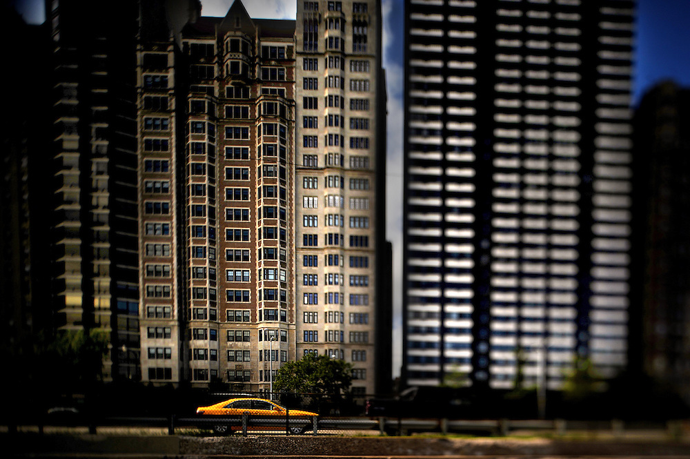 A cab drives northbound on LakeShore Drive in Chicago..(Nikon Tilt-Shift Lense)