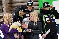 Jure Sinkovec, Jurij Tepes and Jaka Hvala of Slovenia with Spela Vidic Kranjec (C)  with Trophy of her husband KRANJEC Robert (SLO), overall Skiflying World Cup Champion after the Flying Hill Individual competition at 4th day of FIS Ski Jumping World Cup Finals Planica 2012, on March 18, 2012, Planica, Slovenia. (Photo by Vid Ponikvar / Sportida.com)