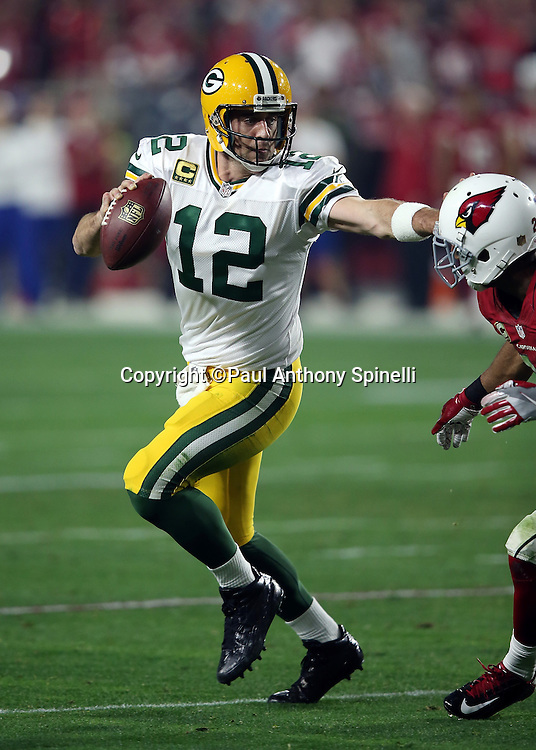 Green Bay Packers quarterback Aaron Rodgers (12) straight arms a defender as he runs the ball in the second quarter play during the NFL NFC Divisional round playoff football game against the Arizona Cardinals on Saturday, Jan. 16, 2016 in Glendale, Ariz. The Cardinals won the game in overtime 26-20. (©Paul Anthony Spinelli)