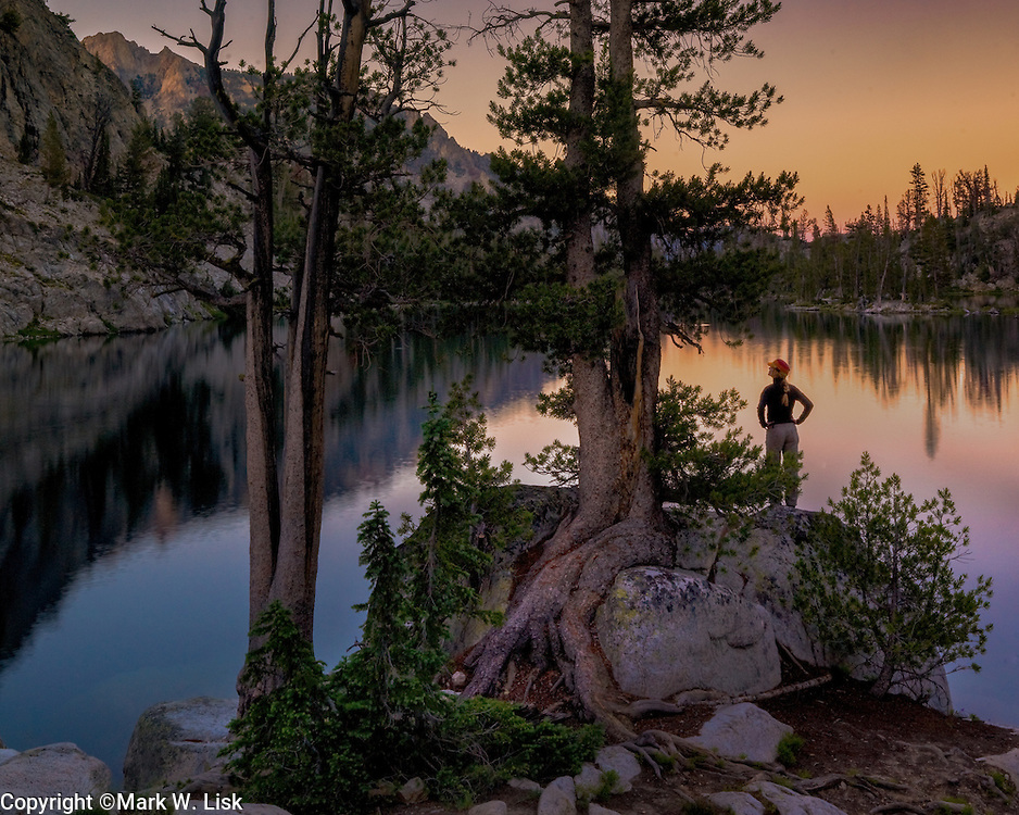 Sunset above the Alpine Creek Lakes sets a tranquill scene for backpackers in the Sawtooth Wildernesss.