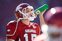 FAYETTEVILLE, AR - NOVEMBER 7:   Ryan Mallett #15 of the Arkansas Razorbacks gets a drink of water during a game against the South Carolina Gamecocks at Donald W. Reynolds Stadium on November 7, 2009 in Fayetteville, Arkansas.  The Razorbacks defeated the Gamecocks 33-16.  (Photo by Wesley Hitt/Getty Images) *** Local Caption *** Ryan Mallett
