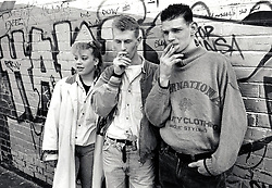 Group of young people smoking, UK 1989