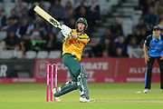 Luke Wood of Nottinghamshire Nottinghamshire Outlaws gets hit in the stomach by Patrick Brown of Worcestershire Rapids during the Vitality T20 Blast North Group match between Nottinghamshire County Cricket Club and Worcestershire County Cricket Club at Trent Bridge, West Bridgford, United Kingdon on 18 July 2019.