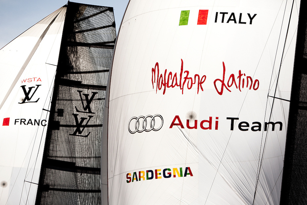 Mascalzone Latino at the Louis Vuitton Trophy, La Maddalena, Italy. 1 June 2010. Photo: Gareth Cooke/Subzero Images