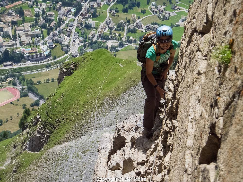 Via Ferrata Leukerbad Juillet 2012.Tourisme, montagne, alpes, grimpe, varappe.(Olivier Maire)
