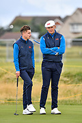 Conor Gough (GB&I) and Harry Hall (GB&I) on the first green during the Saturday morning Foursomes in the Walker Cup at the Royal Liverpool Golf Club, Saturday, Sept 7, 2019, in Hoylake, United Kingdom. (Steve Flynn/Image of Sport)