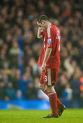 LONDON, ENGLAND - Saturday, November 1, 2008: Liverpool's Jamie Carragher walks off the pitch dejected after scoring an own goal to hand bottom-of-the-table Tottenham Hotspur an undeserved and unlikely victory during the Premiership match at White Hart Lane. (Photo by David Rawcliffe/Propaganda)