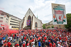 BASEL, SWITZERLAND - Wednesday, May 18, 2016: Liverpool supporters in Basel ahead of the UEFA Europa League Final against Sevilla at St. Jakob-Park. (Pic by David Rawcliffe/Propaganda)