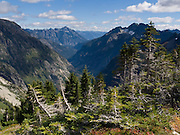 Hike to Cascade Pass and Stehekin Valley  in North Cascades National Park, Washington, USA.