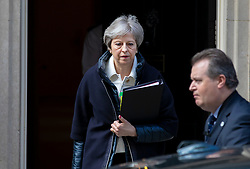 © Licensed to London News Pictures. 16/04/2018. London, UK. Prime Minister Theresa May leaves 10 Downing Street as she heads to Parliament to address MPs about recent British airstrikes in Syria. Photo credit: Rob Pinney/LNP