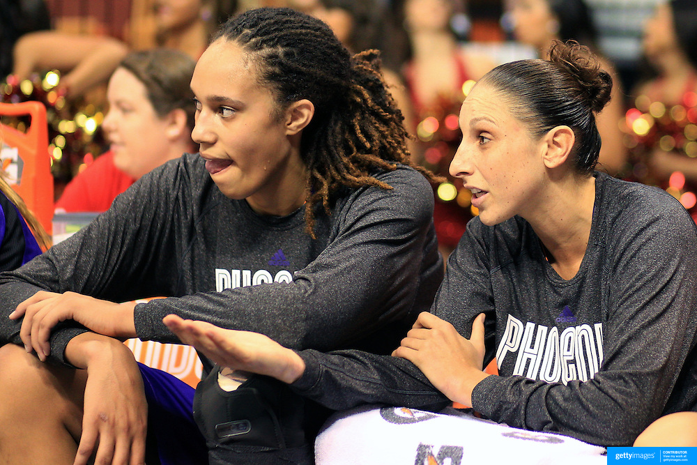 Brittney Griner, Phoenix Mercury gets advice on the bench from team mate Diana Taurasi during the Connecticut Sun V Phoenix Mercury, WNBA regular season game at Mohegan Sun Arena, Uncasville, Connecticut, USA. 29th June 2013. Photo Tim Clayton