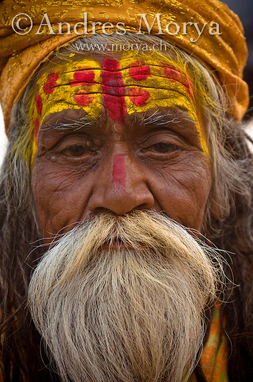 Portrait of an Indian Sadhu Holy man , Varanasi , India Image by Andres Morya