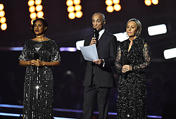 Helen 'Pepsi' DeMacque, Andrew Ridgeley and Shirlie Holliman during the George Michael tribute on stage at the BRIT Awards 2017, held at The O2 Arena, in London.<br /><br />Picture date Tuesday February 22, 2017. Picture credit should read Matt Crossick/ EMPICS Entertainment. Editorial Use Only - No Merchandise.
