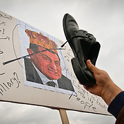 On 01/29/2011 dozens of protesters marched from the Egyptian Embassy in Washington,DC to the White House, calling for Egyptian President Hosni Mubarak to step down.