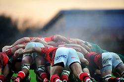 A general view of steam rising from a scrum - Photo mandatory by-line: Patrick Khachfe/JMP - Mobile: 07966 386802 23/11/2014 - SPORT - RUGBY UNION - Oxford - Kassam Stadium - London Welsh v Leicester Tigers - Aviva Premiership