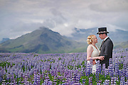 Wedding in Iceland in a field of lupin by destination wedding photographer Michelle Turner.