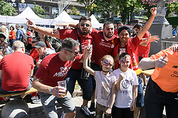 May 26, 2018 - Kiev, Ukraine - Liverpool fans in  Kyiv, Ukraine,  prior to the UEFA Champions League Final between Real Madrid and Liverpool at NSC Olimpiyskiy Stadium on May 26, 2018 in Kiev, Ukraine. (Credit Image: © Maxym Marusenko/NurPhoto via ZUMA Press)