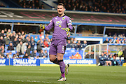 Burnley goalkeeper Tom Heaton celebrates opening goal 0-1 during the Sky Bet Championship match between Birmingham City and Burnley at St Andrews, Birmingham, England on 16 April 2016. Photo by Alan Franklin.