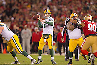 12 January 2013: Quarterback (12) Aaron Rogers of the Green Bay Packers passes the ball against the San Francisco 49ers during the first half of the 49ers 45-31 victory over the Packers in an NFL Divisional Playoff Game at Candlestick Park in San Francisco, CA.