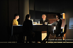 © Copyright licensed to London News Pictures. 14/10/2010. The family at dinner before the mysterious vistor arrives. L ro R: Pietro (Jan Dravnel), Odetta (Katarzyna Warnke), Paolo (Jan Englert), Lucia (Danuta Stenka). TR Warszawa present T.E.O.R.E.M.A.T. at the Barbican as part of bite 10.