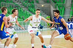 Zoran Dragic and Gezim Morina of Slovenia during qualifying match between Slovenia and Kosovo for European basketball championship 2017,  Arena Stozice, Ljubljana on 31th August, Slovenia. Photo by Grega Valancic / Sportida