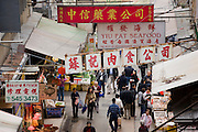 Traditional old Chinese Soho food market, Gage Street, near Sheung Wan, Hong Kong, China