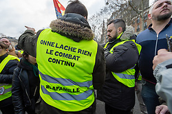 Éric Drouet during the act 12 of yellow vests protest at the place Feix Eboue in Paris, France, on February 02, 2019. Photo by Serge Tenani/Avenir Pictures/ABACAPRESS.COM