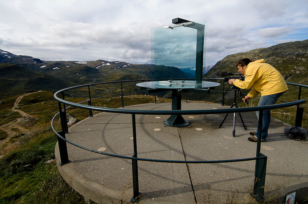 "Nedre Oscarshaug, a unique viewpoint along Sognefjellet tourist route, Norway. Contemporary architecture is expressed by the Norwegian program ""The National Tourist Routes"". These projects aim to open up the stunning Norwegian landscape to tourists through a series of architectural viewpoints that enhance their surroundings."