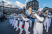 The Pride of Bixby High School Marching Band - The New Years Day parade passes through central London.