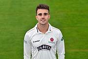 Head shot.  Ben Green wearing the Somerset Specsavers County Championship kit at the media day at Somerset County Cricket Club at the Cooper Associates County Ground, Taunton, United Kingdom on 11 April 2018. Picture by Graham Hunt.