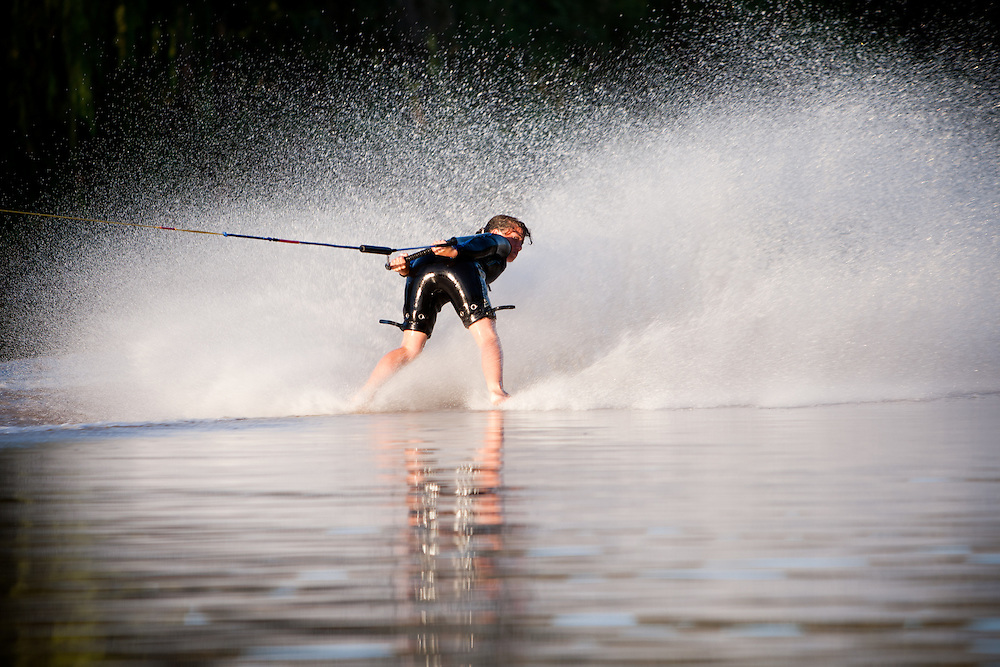Shianne Addinall barefoot water skiing during the slalom  event at the Free State Interprovincial barefoot skiing competition, South Africa.