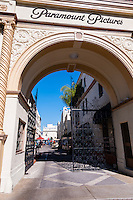 United States, California, Los Angeles. Paramount Pictures Corporation located at 5555 Melrose Avenue in Hollywood, the only film studio left in Hollywood. Tha Paramount gate.