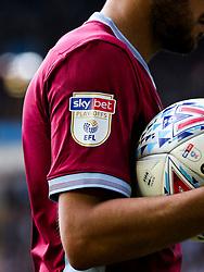 Sky Bet Play-Offs badge on Neil Taylor of Aston Villa - Rogan/JMP - 11/05/2019 - Villa Park - Birmingham, England - Aston Villa v West Bromwich Albion - Sky Bet Championship Play-Off Semi Final Leg 1.