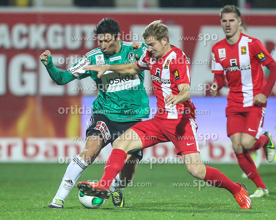 23.11.2013, Keine Sorgen Arena, Ried im Innkreis, AUT, 1. FBL, SV Josko Ried vs FC Admira Wacker Moedling, 16. Runde, im Bild Markus Rusek, (FC Admira Wacker Moedling, #24) und Robert Zulj, (SV Josko Ried, #22) // during Austrian Football Bundesliga Match, 16th round, between SV Josko Ried and FC Admira Wacker Moedling at the Keine Sorgen Arena, Ried im Innkreis, Austria on 2013/11/23. EXPA Pictures © 2013, PhotoCredit: EXPA/ Roland Hackl