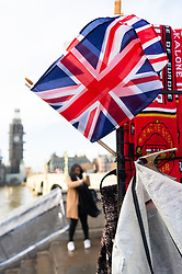 © Licensed to London News Pictures. 19/12/2018. London, UK. A United Kingdom flag flies in Westminster as today marks 100 day countdown to UK Brexit. The British people voted in a referendum to leave the EU and will formally leave by March 29 2019. Photo credit: Ray Tang/LNP
