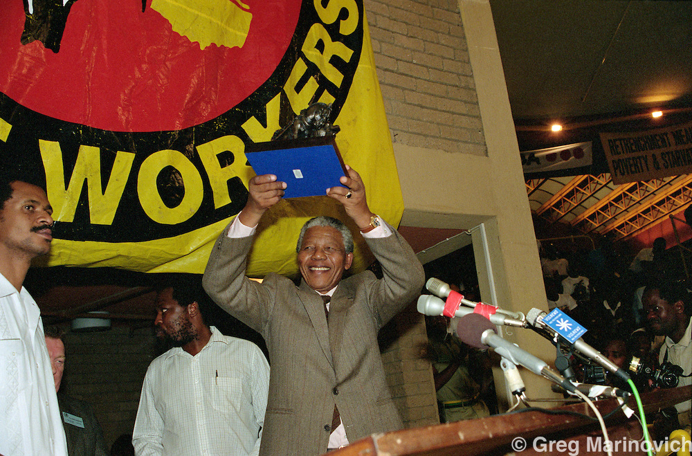 Nelson Mandela at NUM Conference,Nasrec,  Soweto,  27 April 1991 South Africa