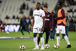 West Ham United's Michail Antonio warms-up during the Premier League match at the London Stadium.