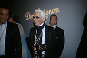 Karl Largerfeld. Karl Largerfeld hosts the launch of Dom Perignon Vintage 1998. Skylight Studios. 275 Hudson St. New York. 2 June 2005. ONE TIME USE ONLY - DO NOT ARCHIVE  © Copyright Photograph by Dafydd Jones 66 Stockwell Park Rd. London SW9 0DA Tel 020 7733 0108 www.dafjones.com