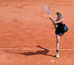 May 31, 2018 - Paris, France - Garbine Muguruza of Spain hits a return during the women's singles second round match against Fiona Ferro of France at the French Open Tennis Tournament 2018 in Paris, France. Garbine Muguruza won 2-0. (Credit Image: © Luo Huanhuan/Xinhua via ZUMA Wire)