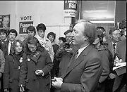 Opening of New Ogra Fianna Fail office on O'Connell St,Dublin.1982.30.01.1982.01.30.1982.30th January 1982.Image of Mr Haughey, as he addresses the assembled activists and volunteers..
