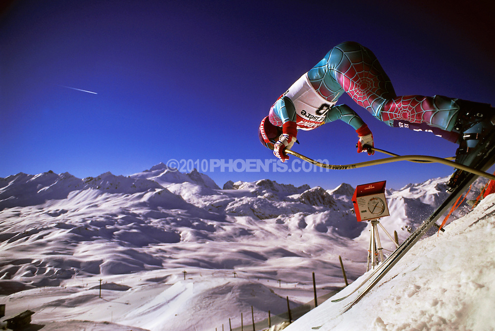 Tommy Moe downhill skier jumps out of the starting gate during a World Cup practice run in the French Alps, Val D'Isere, France SPORT
