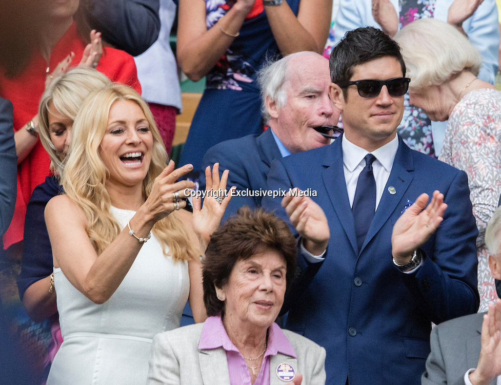 WIMBLEDON - UK - 28th June 2016: The Wimbledon Tennis Championships Day-2  at the All England Lawn Tennis Club, Wimbledon. S.E. London.<br /> <br /> Pic shows. Andy Murray  (GB) playing Liam Brody (GB) watched by Tess Daly and Vernon Kay<br /> &copy;Exclusivepix Media