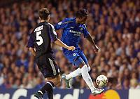 Photo: Daniel Hambury.<br />Chelsea v Anderlecht. UEFA Champions League.<br />13/09/2005.<br />Chelsea's Didier Drogba controls the ball on his toe.