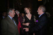 Don McCullin, Santa Montefiore and  Mark Shand. Book party for LAST VOYAGE OF THE VALENTINA by Santa Montefiore (Hodder & Stoughton) Asprey,  New Bond St. 12 April 2005. ONE TIME USE ONLY - DO NOT ARCHIVE  © Copyright Photograph by Dafydd Jones 66 Stockwell Park Rd. London SW9 0DA Tel 020 7733 0108 www.dafjones.com
