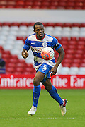 Queens Park Rangers defender Nedum Onuoha keeps his eyes on the ball during The FA Cup third round match between Nottingham Forest and Queens Park Rangers at the City Ground, Nottingham, England on 9 January 2016. Photo by Aaron Lupton.