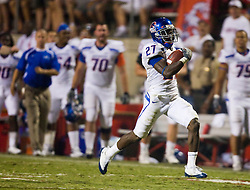 Sep. 18, 2009; Fresno, CA, USA; Boise State Broncos running back Jeremy Avery (27) rushes for a long gain against the Fresno State Bulldogs during the fourth quarter at Bulldog Stadium. Boise State defeated Fresno State 51-34.